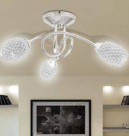 VidaXL Plafondlamp met witte kristallen acryl kapjes (3 x G9)