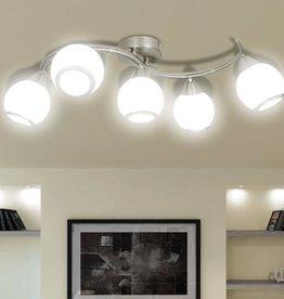 VidaXL Plafondlamp met glazen kappen + golvende rail