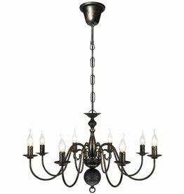 VidaXL Kroonluchter zwart metaal 8 x E14 lampen