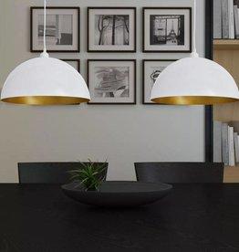VidaXL Halfronde metalen hanglamp (wit, set van twee)
