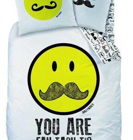 Smiley Smiley Dekbedovertrek Moustache 140x200cm + kussensloop 63x63cm
