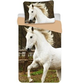 Animal Pictures Animal Pictures  Dekbedovertrek Wit Paard 140x200cm + kussensloop 70x90cm