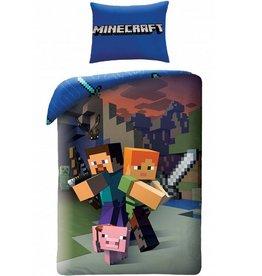 Minecraft Minecraft Dekbedovertrek 140x200 + kussensloop 70x90cm
