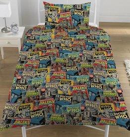 Dr Who Comics - Dekbedovertrek - Eenpersoons - 135 x 200 cm - Multi