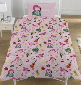 Emoji Emoji Dekbedovertrek Flamingo 135 x 200cm + 1 kussensloop 50 x 75cm