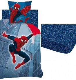 Spider-Man Tower - Dekbedovertrek - Eenpersoons - 140 x 200 cm - Blauw - Inclusief hoeslaken