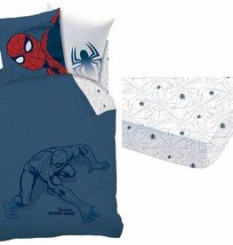 Spider-Man Silhouette - Dekbedovertrek - Eenpersoons - 140 x 200 cm - Blauw - Inclusief Hoeslaken