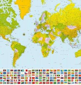 Fotobehang World Map 366x254 cm