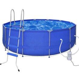 VidaXL Opbouwzwembad met ladder en filterpomp rond 457 cm
