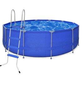 VidaXL Opbouwzwembad met ladder rond 457 cm