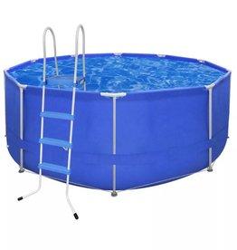VidaXL Opbouwzwembad met stalen frame en trap 367 x 122 cm rond