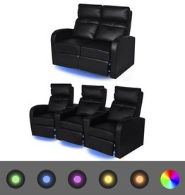 VidaXL 2-delige LED verstelbare bank 2+3-zits kunstleer zwart
