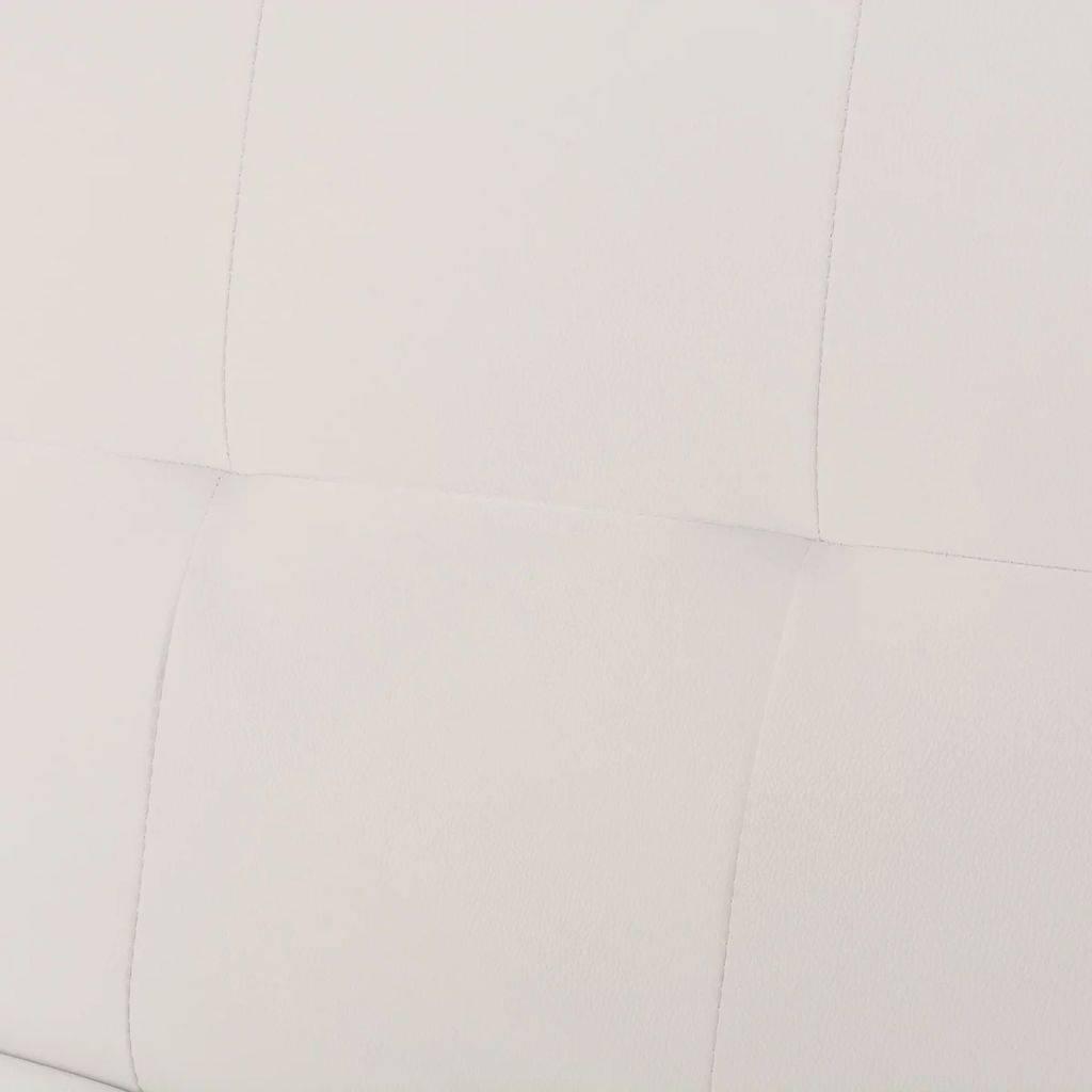 VidaXL Slaapbank met twee kussens verstelbaar kunstleer crèmewit
