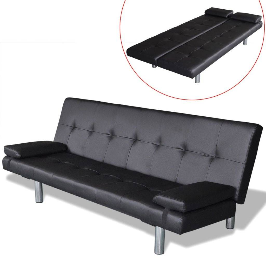 VidaXL Slaapbank met twee kussens verstelbaar kunstleer zwart