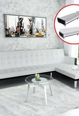VidaXL Slaapbank L-vormig en verstelbaar kunstleer wit