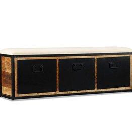 VidaXL Opslagbankje met 3 lades 120x30x40 cm massief mangohout