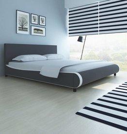VidaXL Bed met traagschuim matras 180x200 cm kunstleer grijs