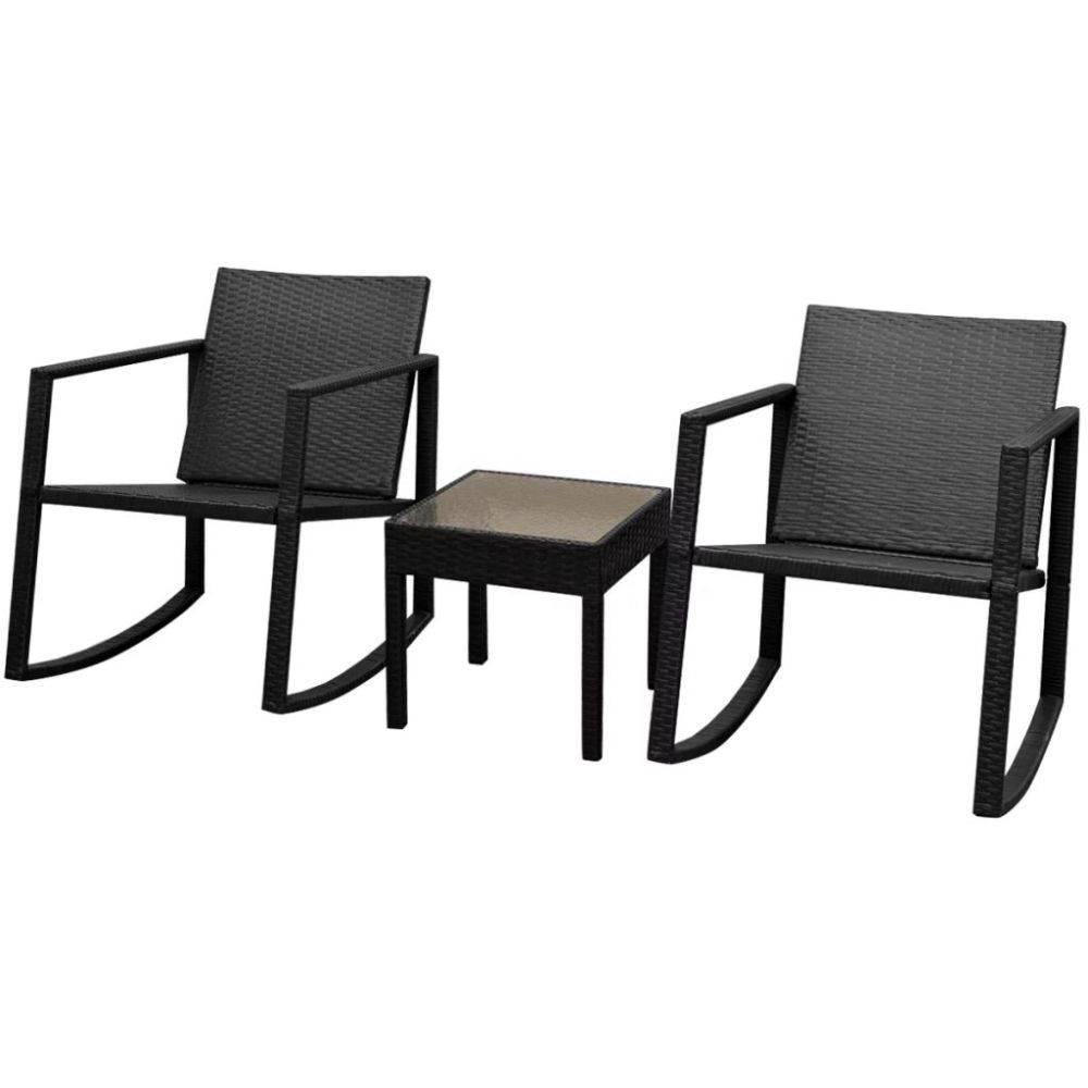 VidaXL Schommelstoelenset met tafel poly rattan zwart 3-delig