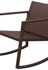 VidaXL Schommelstoelenset met tafel poly rattan bruin 3-delig