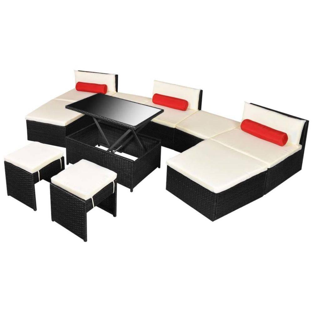 VidaXL Loungeset poly rattan zwart 25-delig