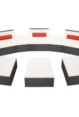 VidaXL Ligbeddenset modulair poly rattan zwart 22-delig