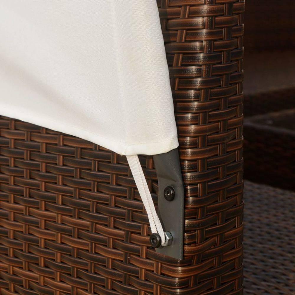 VidaXL Loungeset met luifels poly rattan bruin 34-delig