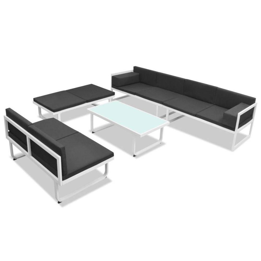 VidaXL Loungeset textileen aluminium zwart en wit 17-delig