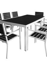 VidaXL Tuinset 185x90x74 cm aluminium HKC zwart 9-delig
