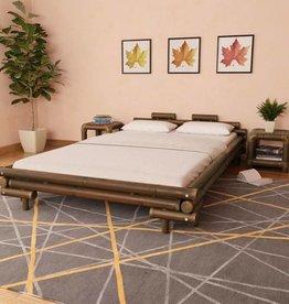 VidaXL Bed met 2 nachtkastjes bamboe donkerbruin 140x200 cm