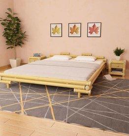 VidaXL Bedframe met 2 nachtkastjes bamboe natuurlijk 180x200 cm