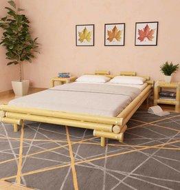 VidaXL Bed met 2 nachtkastjes bamboe naturel 140x200 cm
