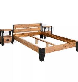 VidaXL Bedframe met 2 nachtkastjes 180x200 cm acaciahout en staal