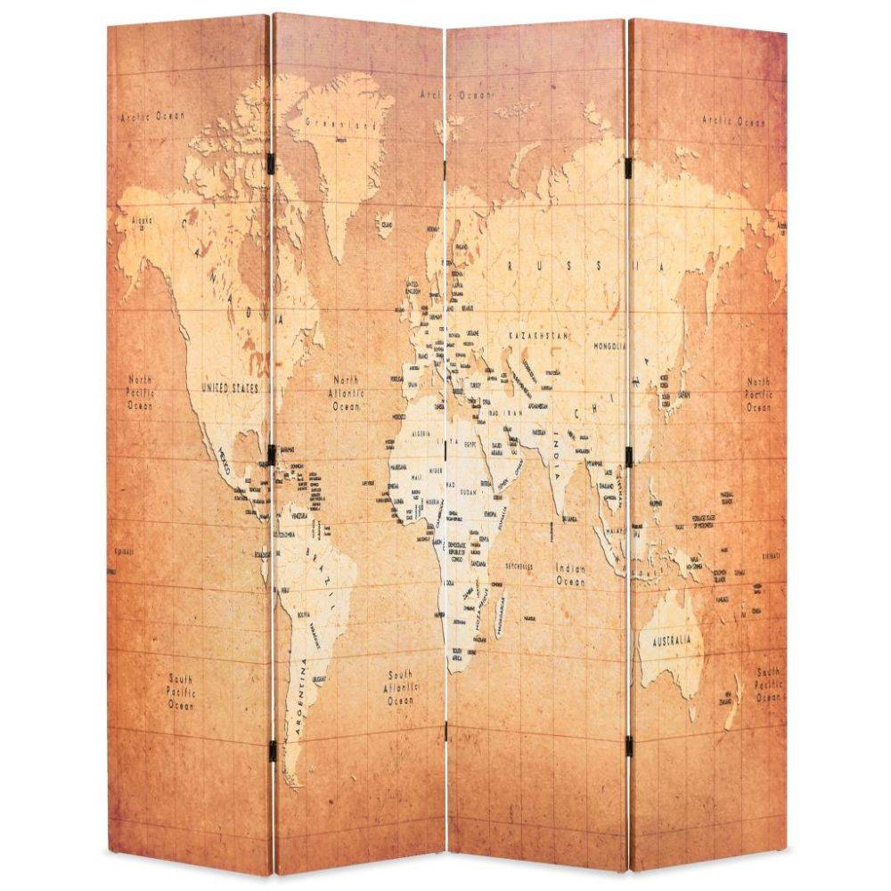 VidaXL Kamerverdeler inklapbaar wereldkaart 160x180 cm geel