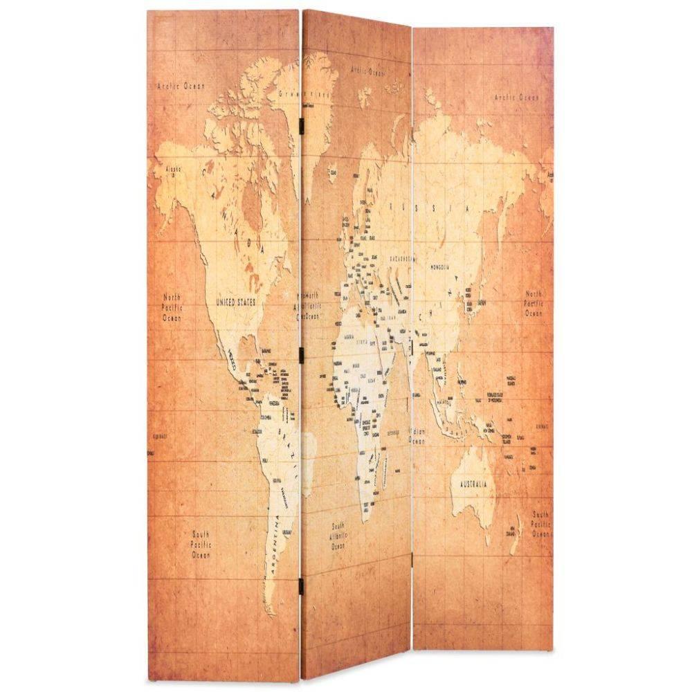 VidaXL Kamerverdeler inklapbaar wereldkaart 120x180 cm geel
