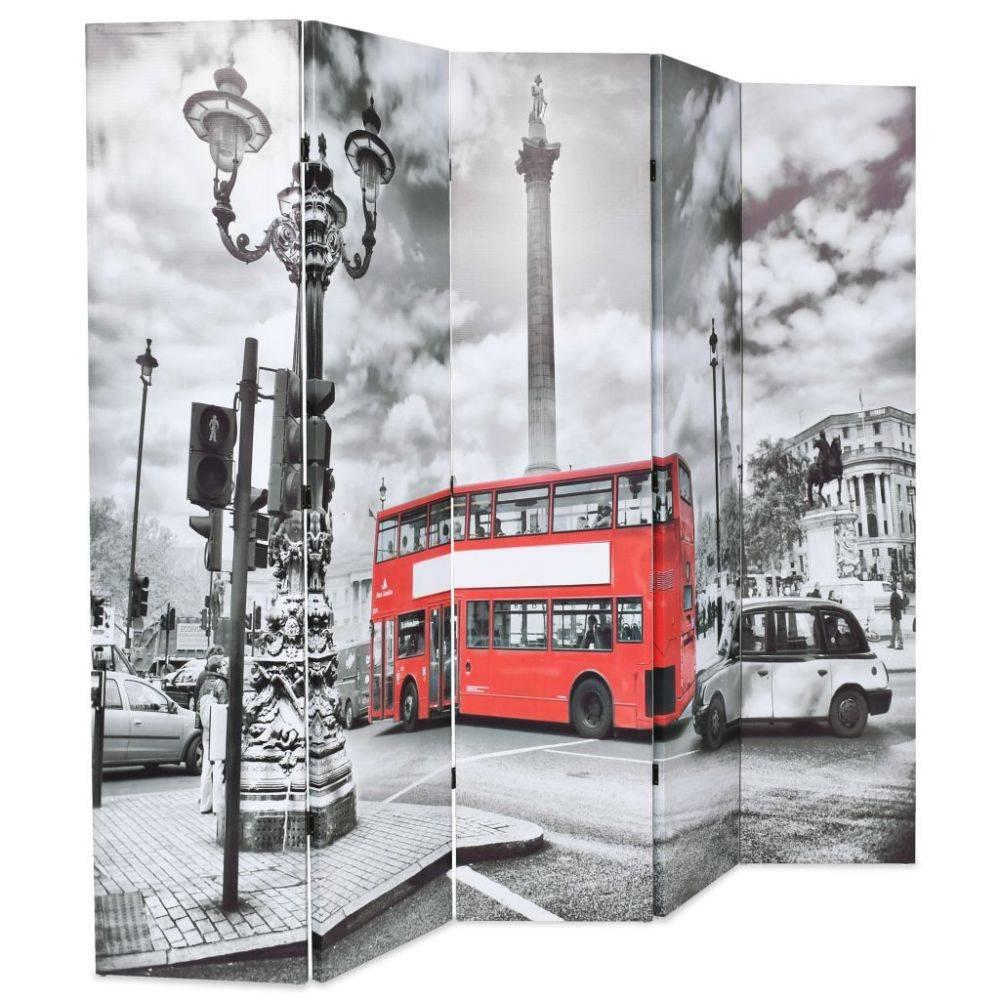 VidaXL Kamerverdeler inklapbaar Londen bus 200x180 cm zwart en wit