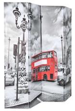 VidaXL Kamerverdeler inklapbaar Londen bus 160x180 cm zwart en wit