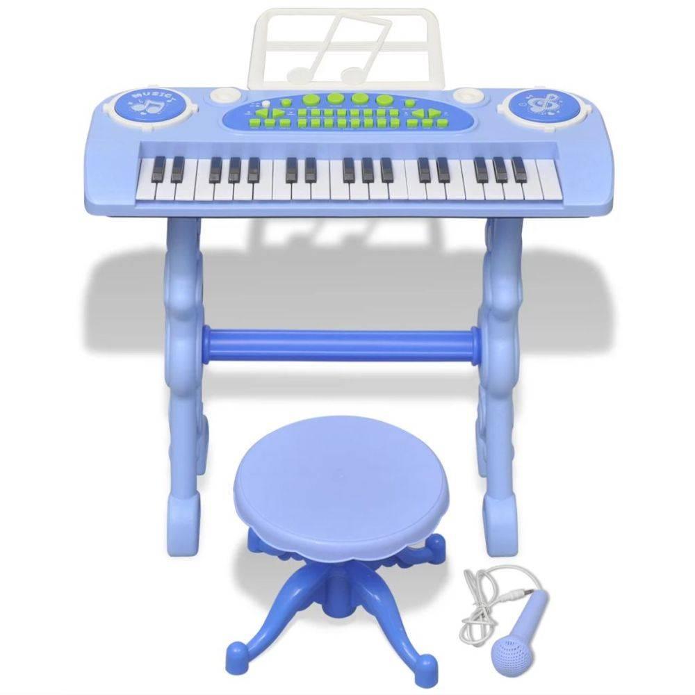 VidaXL Speelgoedkeyboard met krukje/microfoon voor kinderen kinderkamer blauw