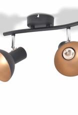 VidaXL Plafondlamp voor 2 peertjes E27 zwart en goud
