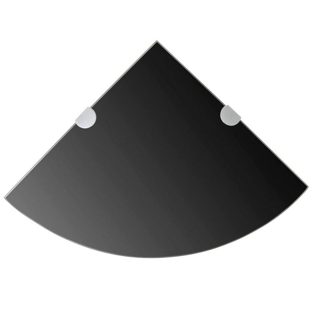 VidaXL Hoekplank met chromen dragers zwart 25x25 cm glas