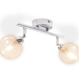VidaXL Plafondlamp met 2 lampenkappen G9 chroom