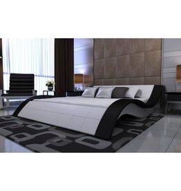 VidaXL 2-persoons bed Velocità zwart/wit leder 180 x 200