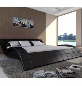 VidaXL 2-persoons bed Velocità zwart leder 140 x 200
