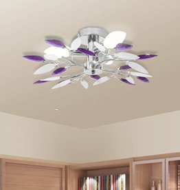 VidaXL Plafondlamp witte en paarse acryl kristal bladeren 3xE14