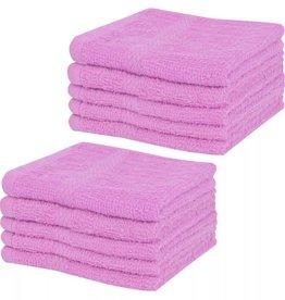 VidaXL Gastendoekjesset 360 g/m² 30x30 cm katoen roze 10-delig