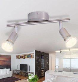 VidaXL plafondlamp met 2 led-spotlights satijn nikkel