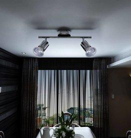 VidaXL Plafondlamp met 2 halogeenspots nikkel