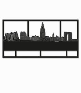 Groningen rechthoek zwart hout - groot