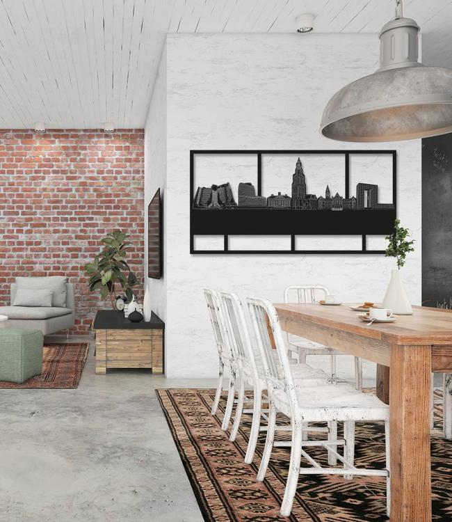 Skyline Groningen rechthoek zwart hout - 120 x 60cm