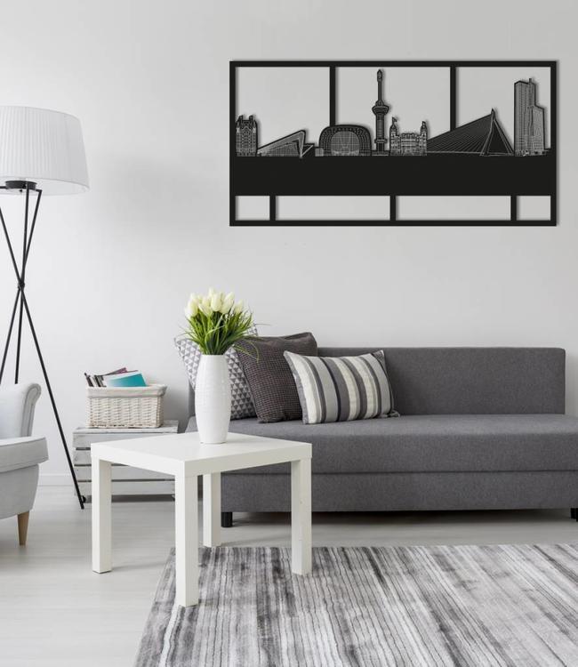 Skyline Rotterdam rechthoek zwart hout - 120 x 60cm