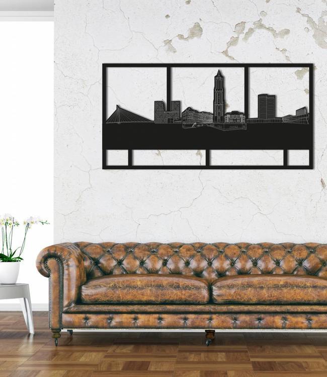 Skyline Utrecht rechthoek zwart hout - 120 x 60cm